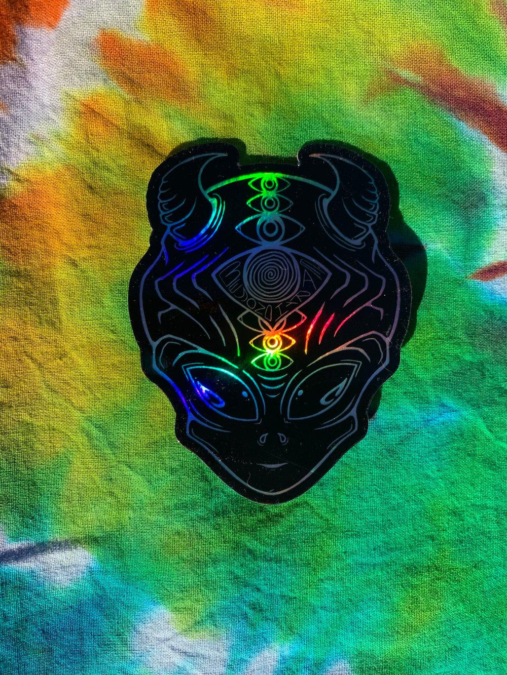 Image of Alien Demon Holographic Sticker