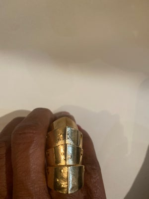 Image of Gold plated gothic joint hinged full finger knuckle armor double finger ring