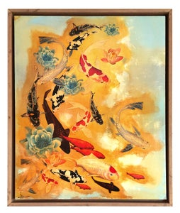 Image of Original Canvas - Koi and Lilies on Pale Blue/Gold
