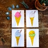 Box of ice creams greetings cards
