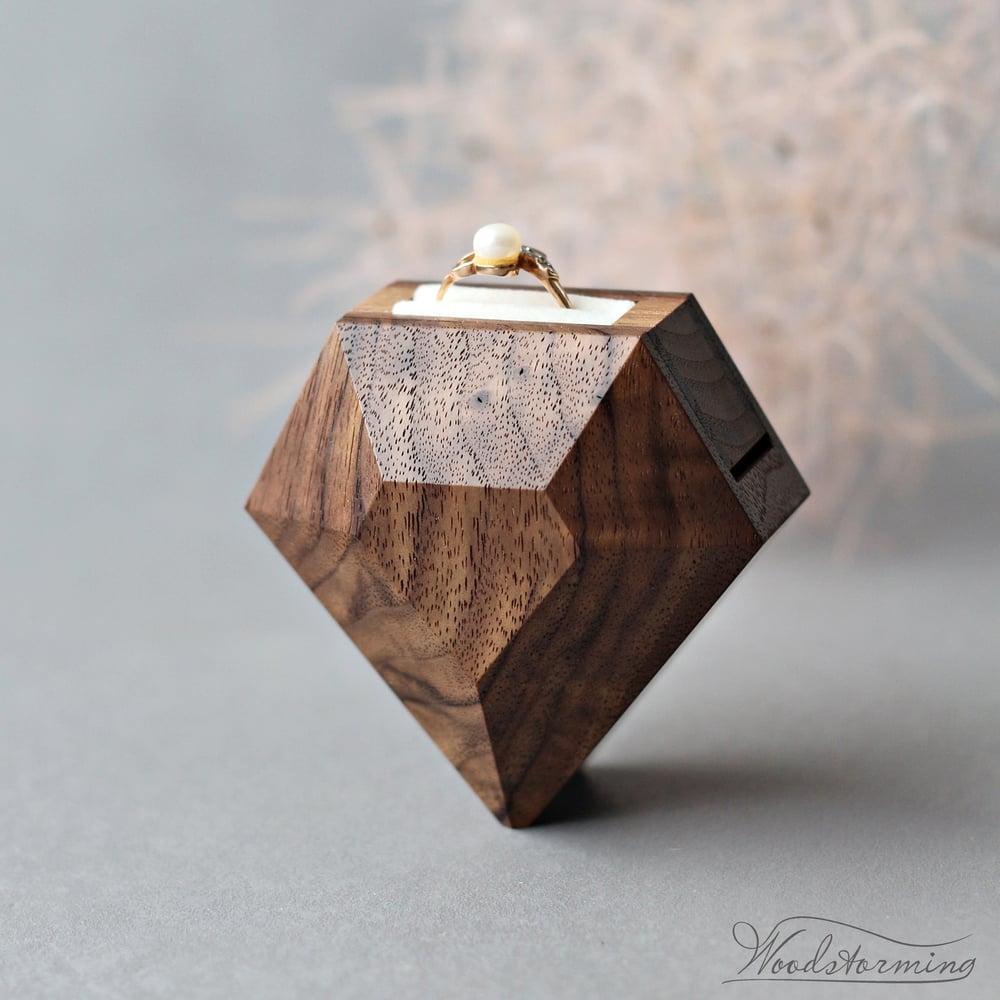 Image of Diamond shape walnut ring box - ready to ship