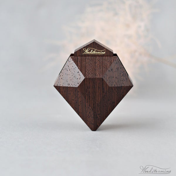 Image of Diamond shape wenge wood ring box with black pillow by Woodstorming - ready to ship