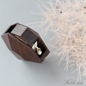 Image of Diamond shape wenge wood ring box with white pillow by Woodstorming - ready to ship