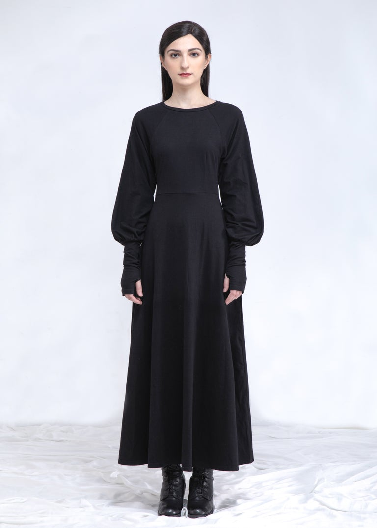 Image of SAMPLE SALE -Black Maxi Dress With Balloon Sleeve