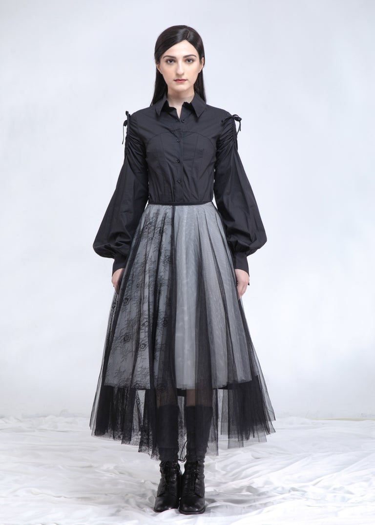 Image of SAMPLE SALE - Black & White Layered Tulle Skirt