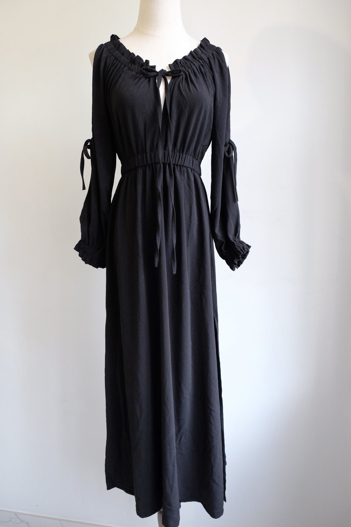 Image of SAMPLE SALE - Unreleased Montana Tied Up Off Shoulder Dress Black