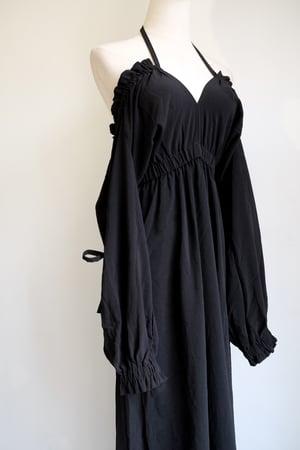 Image of SAMPLE SALE - Unreleased Montana Tied Up Off Shoulder Dress Black
