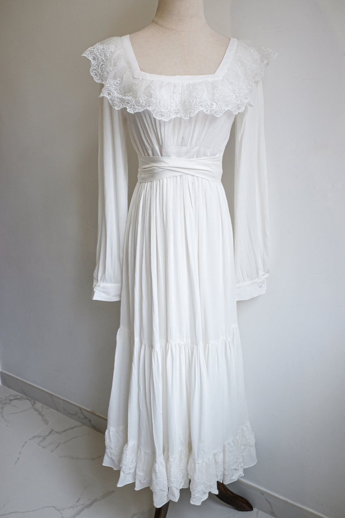 Image of SAMPLE SALE - Isabelle Lace Ribbon Neckline Long Dress White In Long Sleeves Version