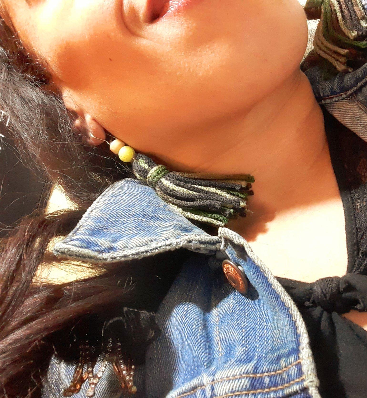 "Image of Greens"" Knot Yarn Tassel Earrings"