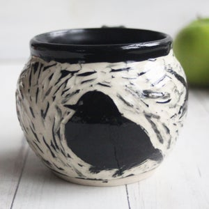 Image of Black and White Sgraffito Mug with Chubby Bird, Hand Carved Pottery Coffee Cup, 14 oz., Made in USA