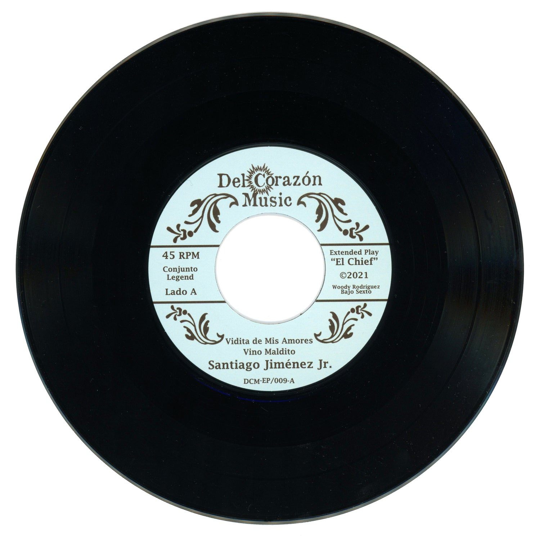 "Image of Santiago Jiménez Jr. - (4 Song EP) - ""El Chief"" w/ #'d Insert, Juke Box Title Strip & download card"
