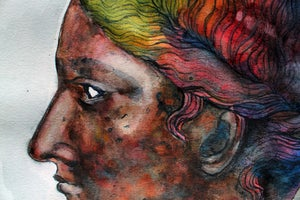 """Image of """"The Lady of Sassari"""", watercolor and ink on paper"""