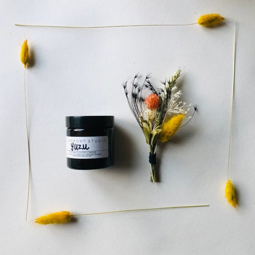 Image of Little Box of Happy - Yuzu Candle & Mini Posy