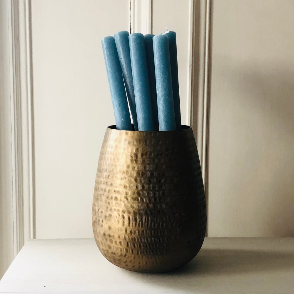 Image of Petrol Blue Rustic Dinner Candle