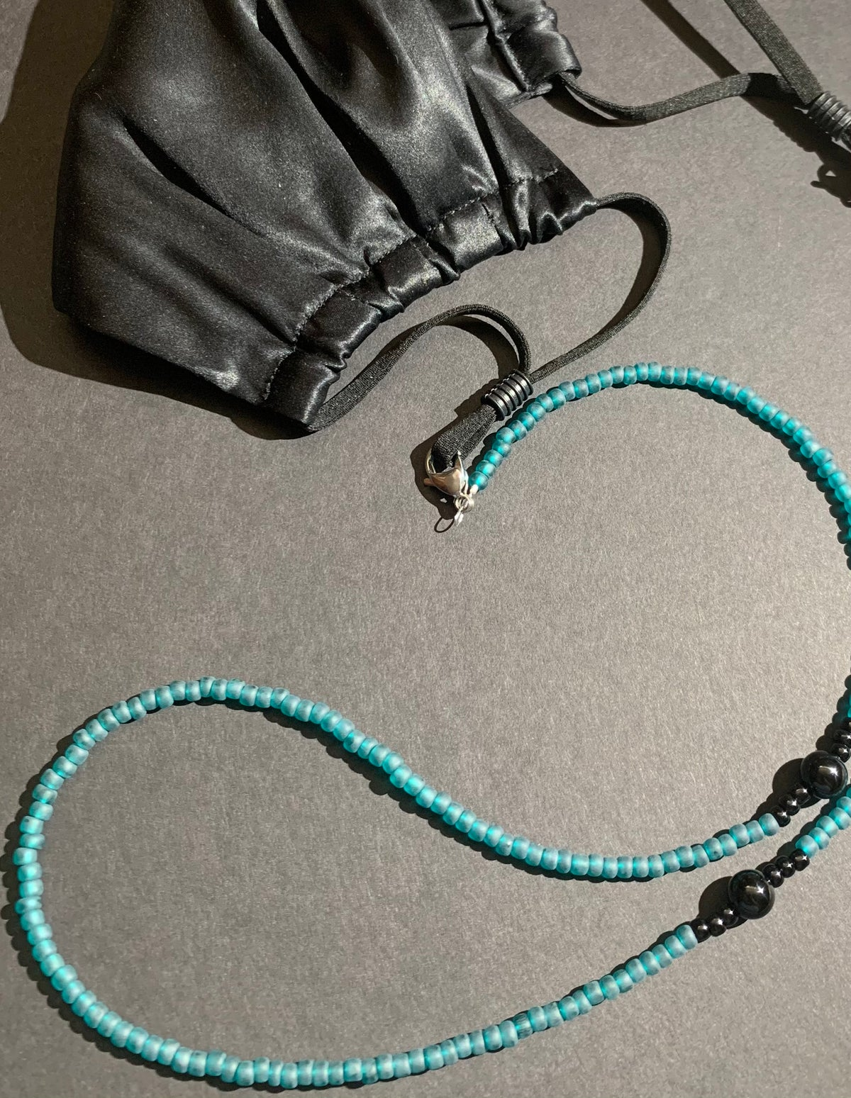 Mask Chain- Teal w/ Onyx Accent