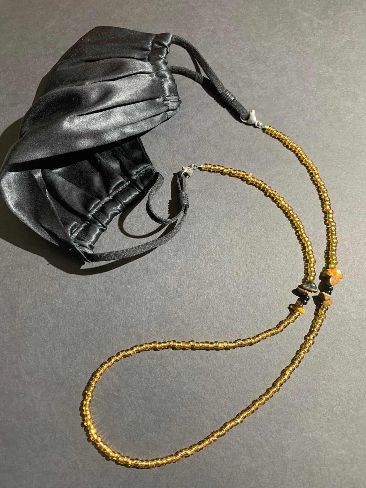 Mask Chain- Gold with Tiger's Eye Accent