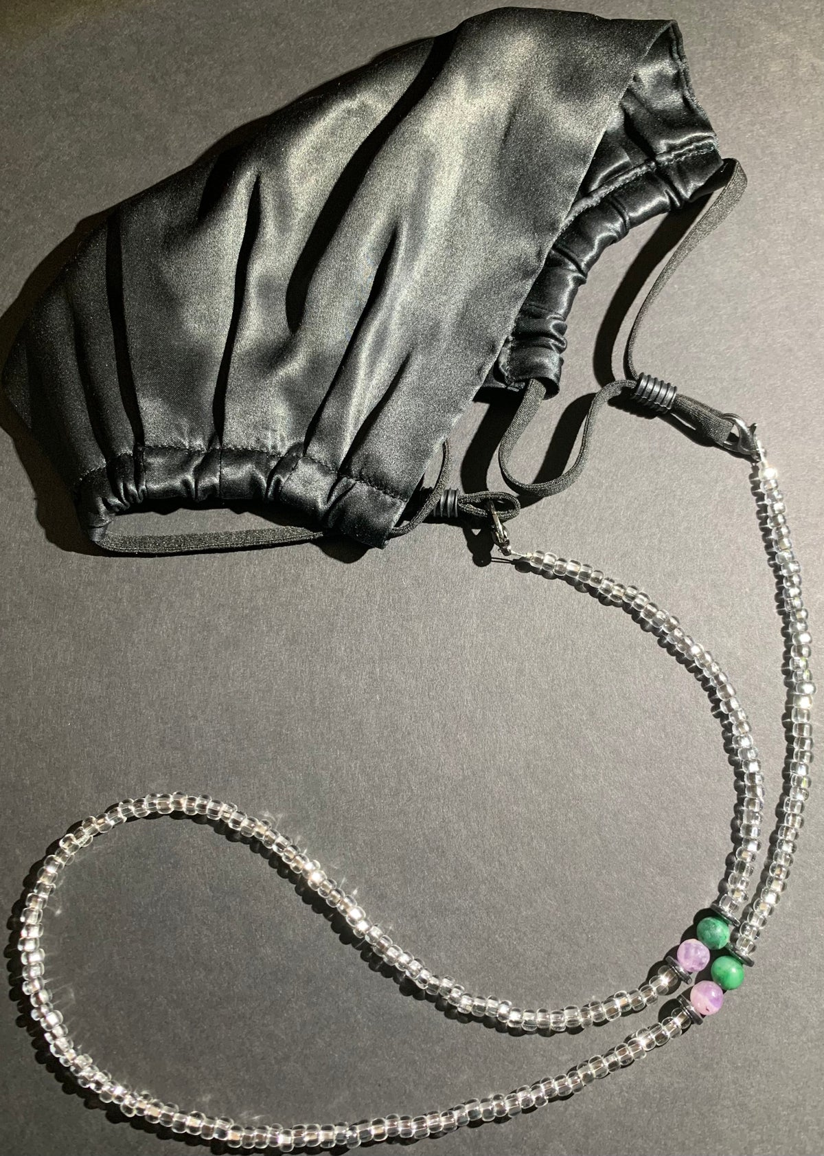 Mask Chain- Clear w/ Aventurine, Amethyst and Hematite Accent