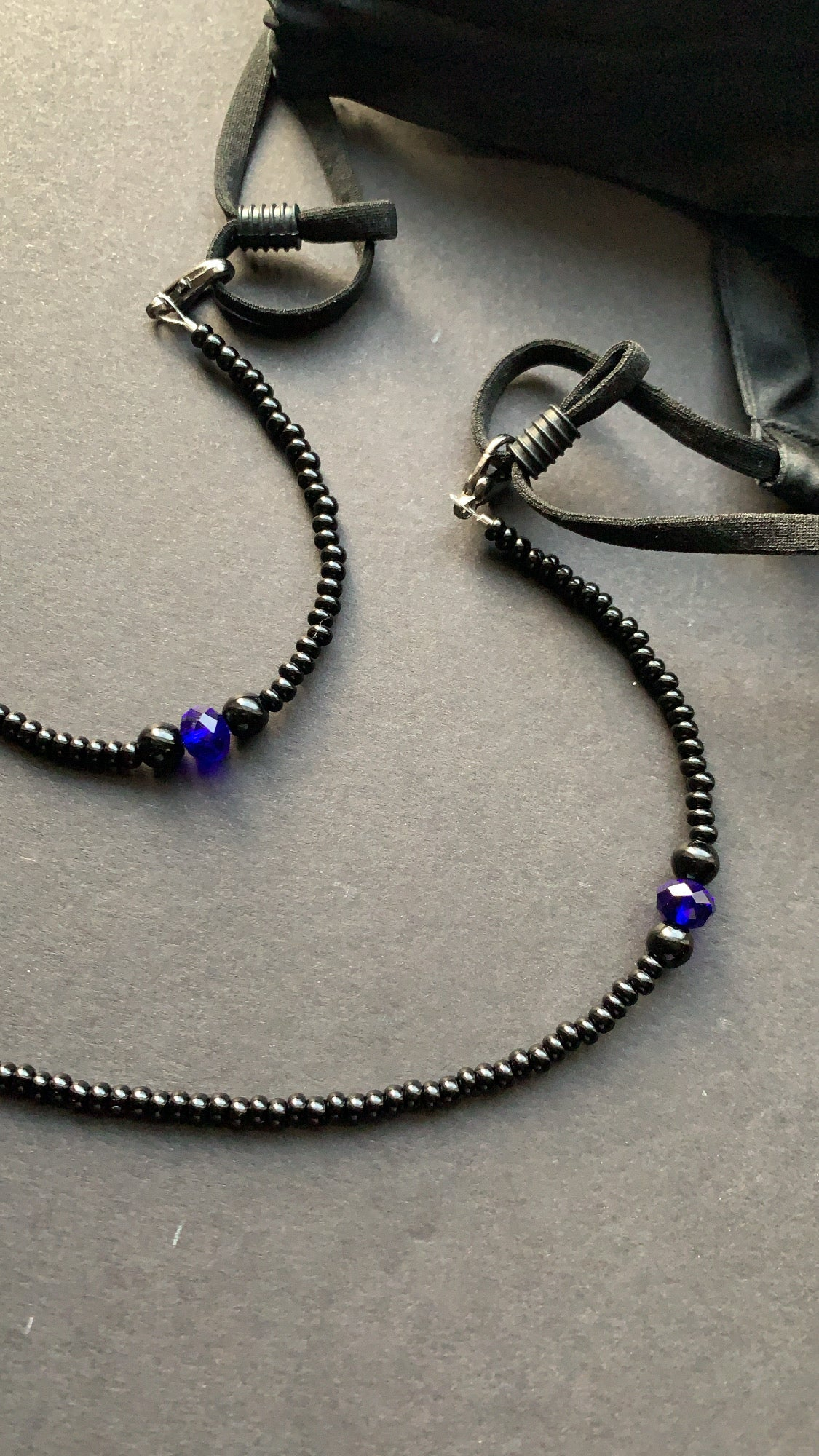 Mask Chain- Black w/ Onyx and Blue Accent