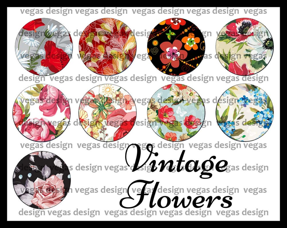 Image of Vintage Flowers 1 Inch Bottle Cap Collage Sheet