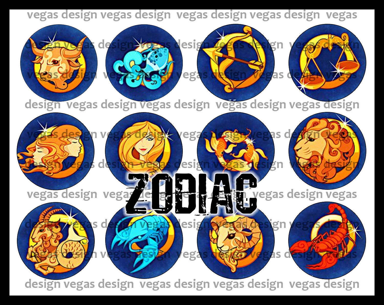 Image of Signs of The Zodiac 1 Inch Bottle Cap Images
