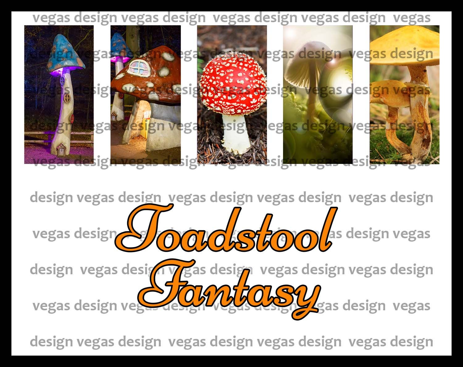 Image of Fantasy Toadstool Domino Collage Sheet