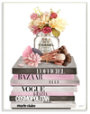 Floral Jar and Brushes Glam Fashion Book Pile Wall Art