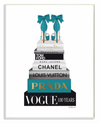 Turquoise Heels Resting on Glam Fashion Books Wall Plaque