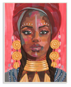 African Female Portrait with Golden Jewelry Wall Art
