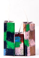 Image 2 of Tower Family Trio in green, black, soft yellow, deep red, brown & blue