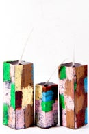 Image 1 of Tower Family Trio in green, black, soft yellow, deep red, brown & blue