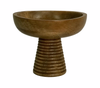 Hand Carved Mango Wood Centerpiece Bowl on Pedestal