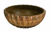 Hand Carved Scalloped Mango Wood Centerpiece Bowl