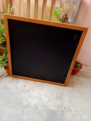 Square Chalkboard with Brown Wooden Frame