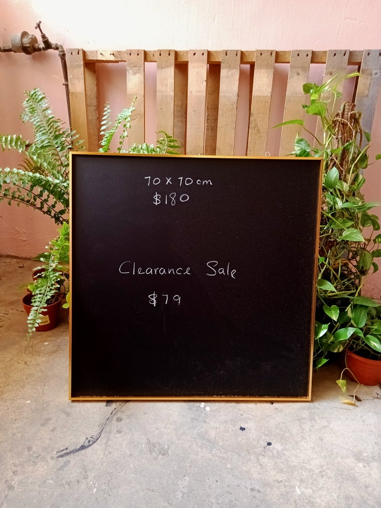 Square Chalkboard with Golden Aluminum Frame