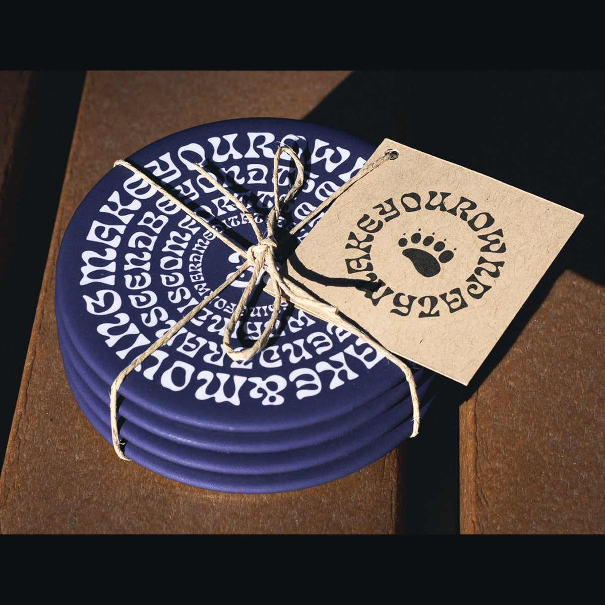 "Image of ""Mantras"" 4-piece Coaster Set"
