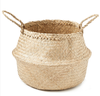 Walnut Hand Woven Palm and Seagrass Belly Basket