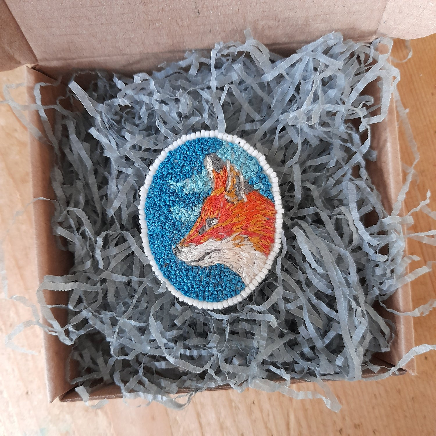 Image of Fox Hand Embroidered Brooch Art Work