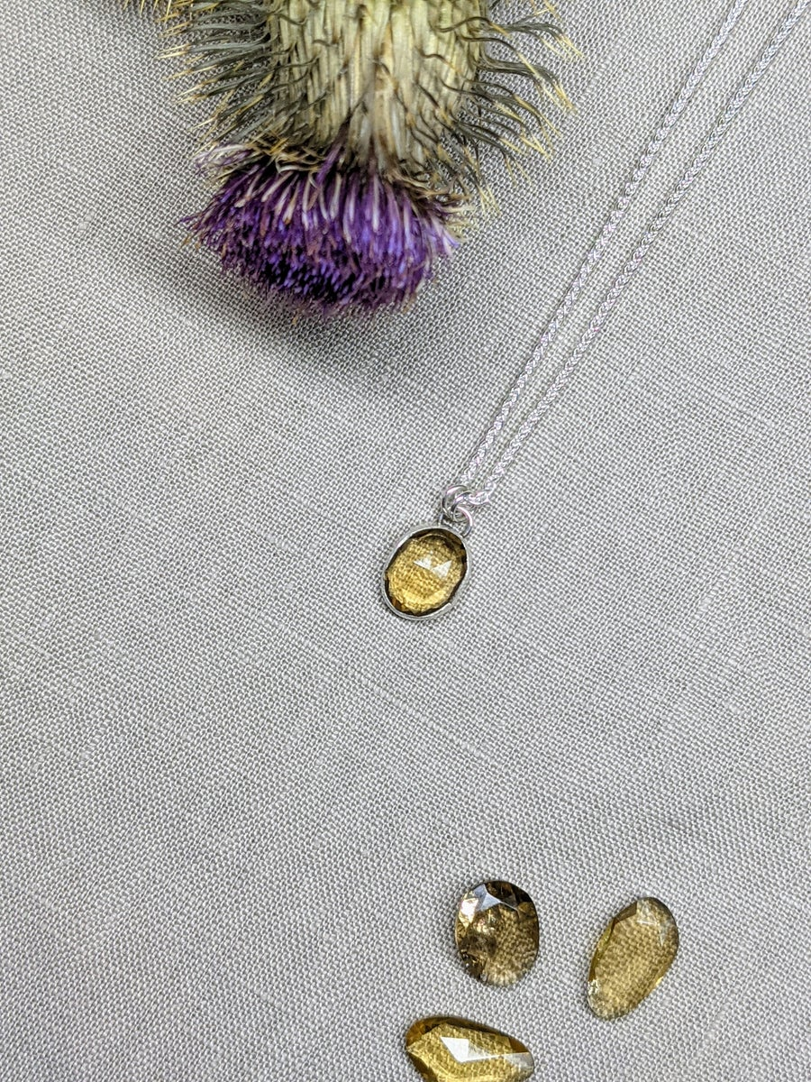 Image of Citrine Sterling Silver 925 Pendant Necklace