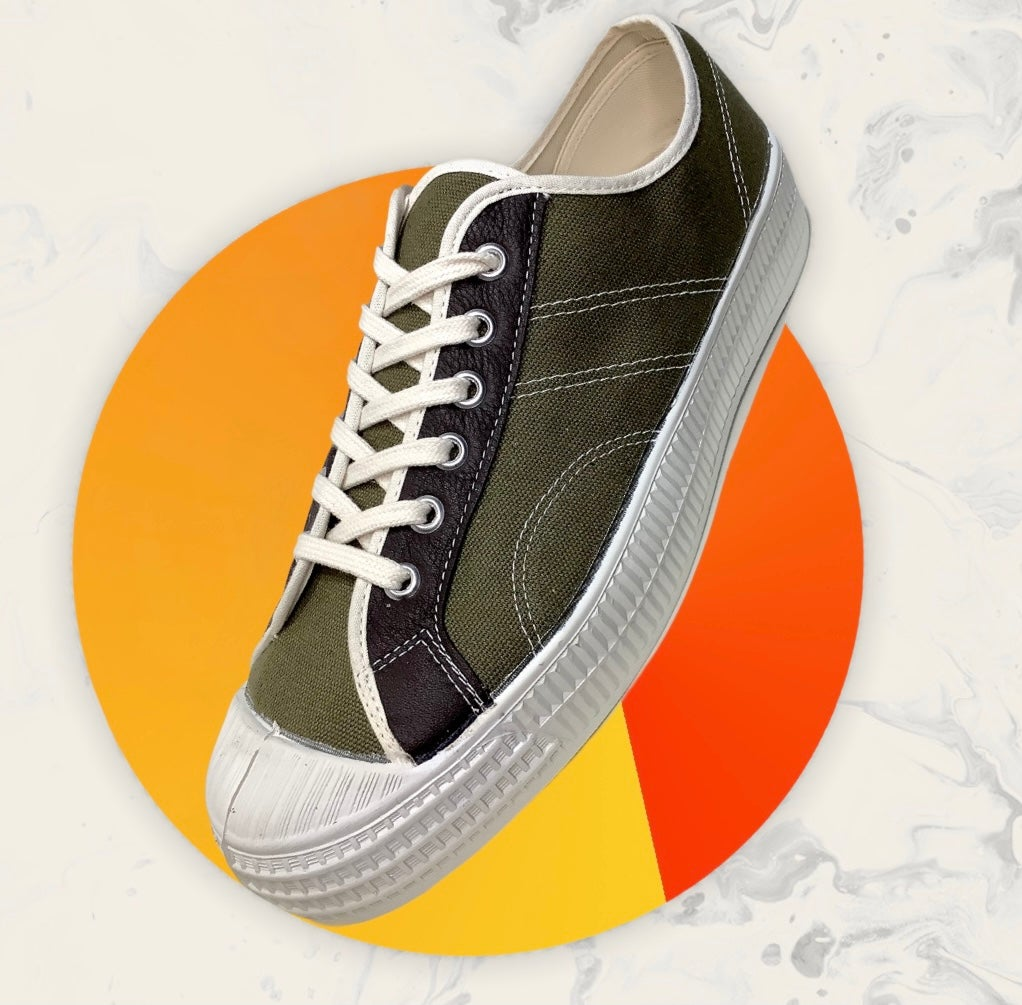 Image of VEGANCRAFT vintage lo top olive sneaker shoes made in Slovakia