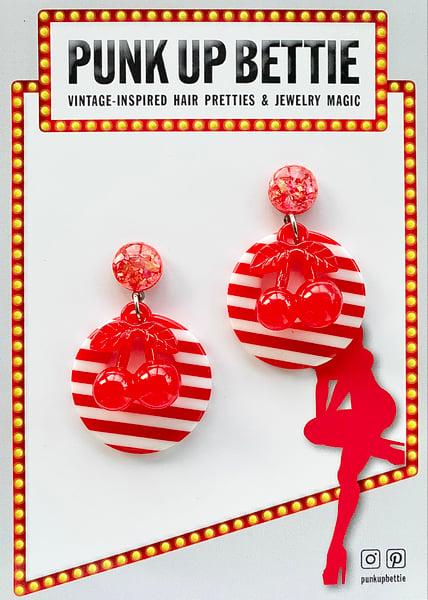 Image of Retro Cherry Delight Earrings - Red