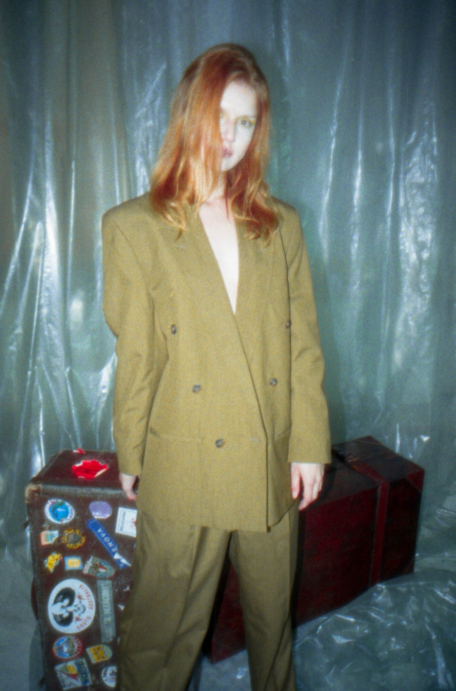 Image of Olive Double Breasted Suit