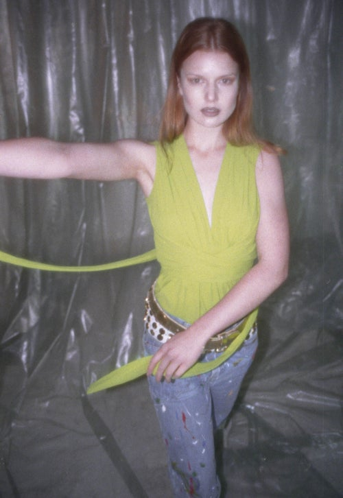 Image of Green Wrap Top