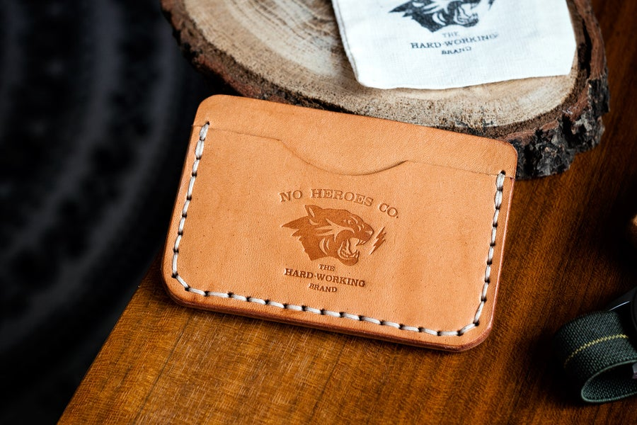 """Image of S.L.C. — """"NATURAL TAN"""" ITALIAN COWHIDE LEATHER CARD HOLDER"""