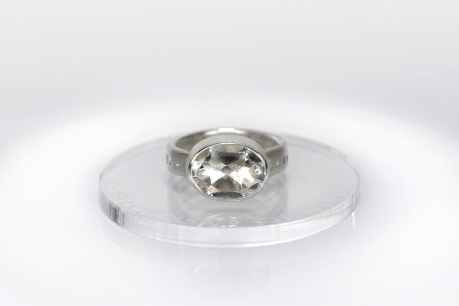 "Image of ""I wish you..."" silver ring with rock crystal · SERENISSIME SIT TIBI ·"