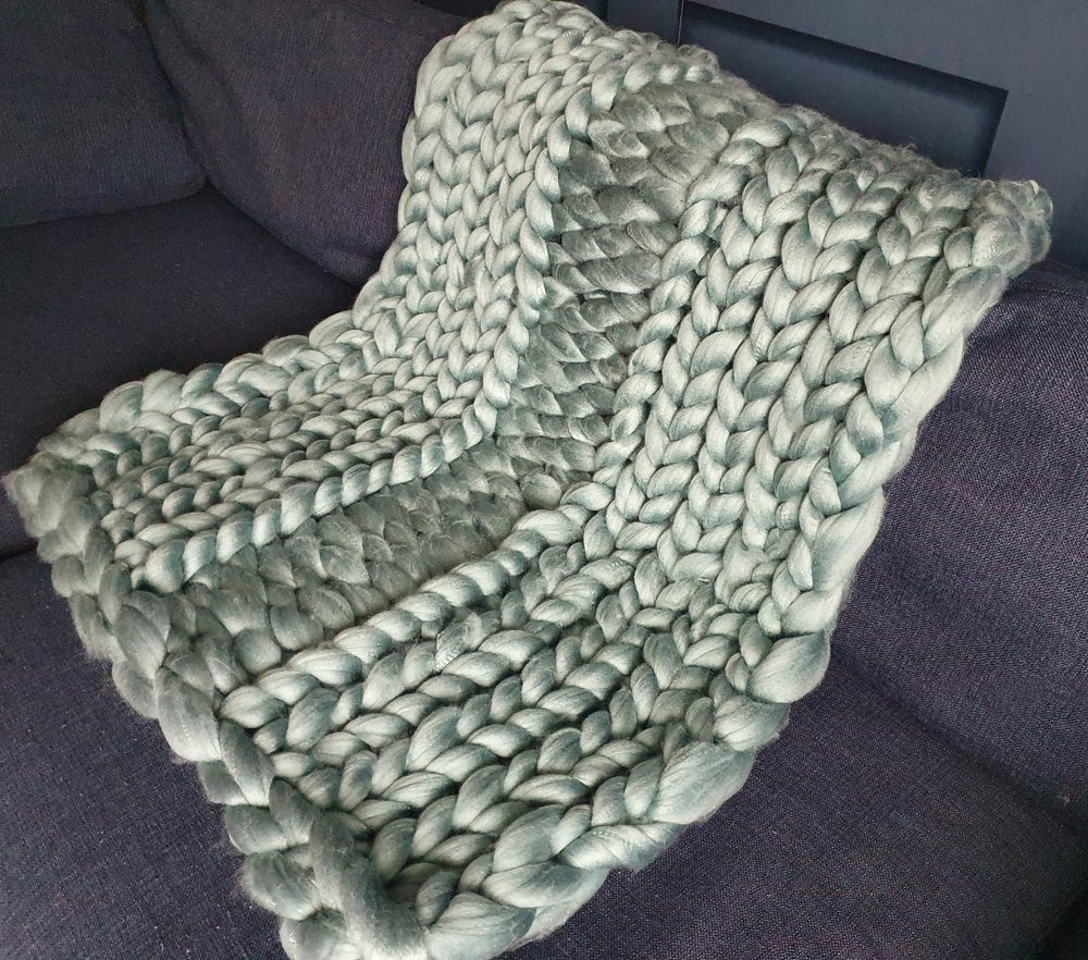 Image of Sage green chunky wool blanket
