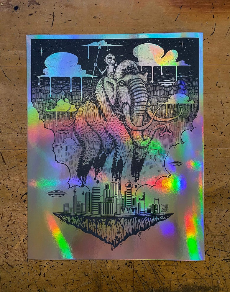 Image of The Original Rider Letterpress - Rainbow Foil Edition