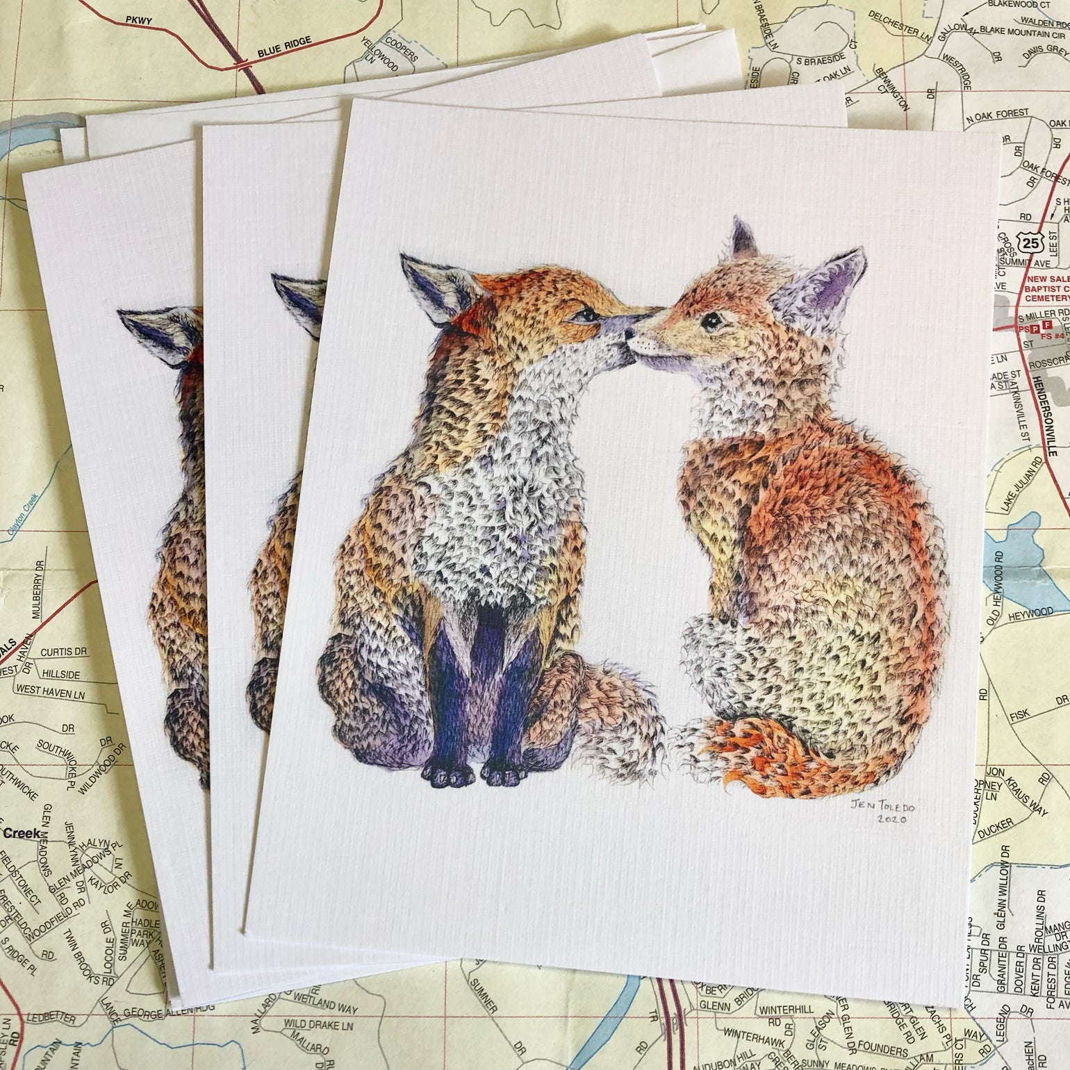 Image of Two Foxes Valentines Day Card