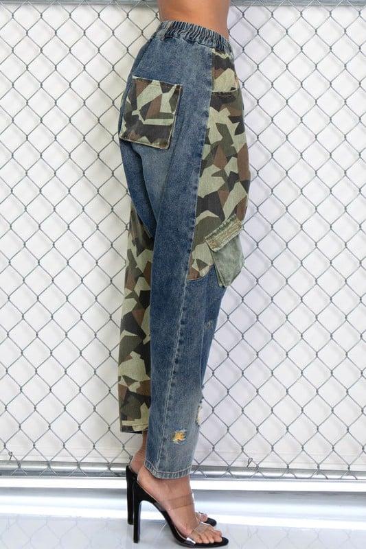 Image of Denim Camouflage Joggers