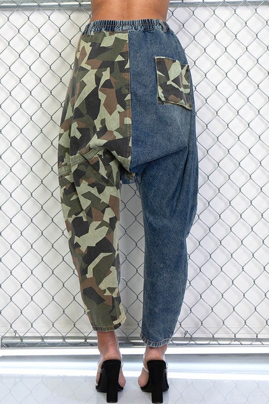 Image of Denim Camouflage Joggers