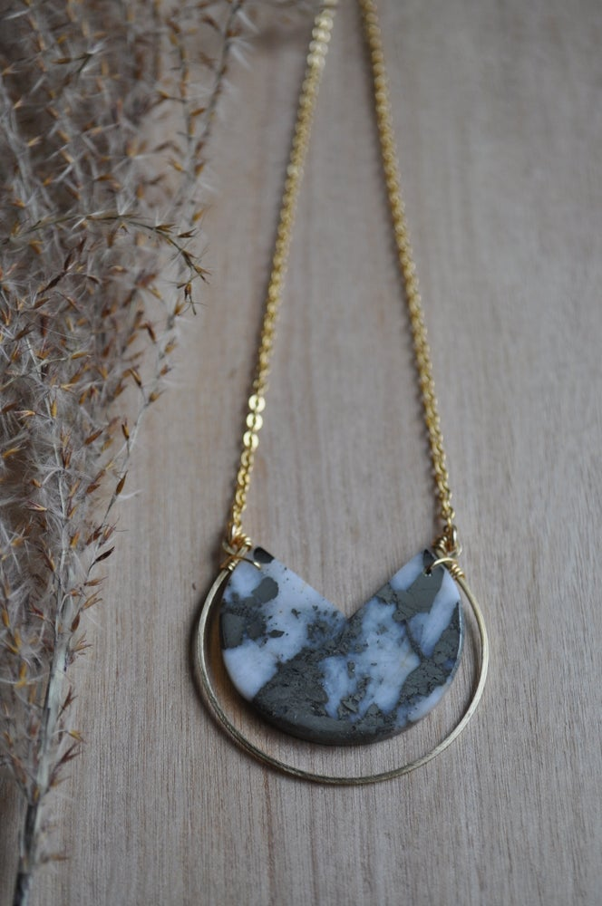 Image of White Quartz and Pyrite OOAK Necklace (Item #N4)